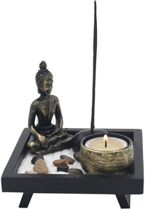 Mini Zen Garden Buddha Statue Candle and Incense Holder Complete Set Home Décor Gift - DharmaObjects