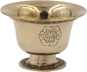 Ghee Lamp Holder Candle Holder Tibetan Brass Oil Butter Lamp Buddhist Supplies (Small) - DharmaObjects