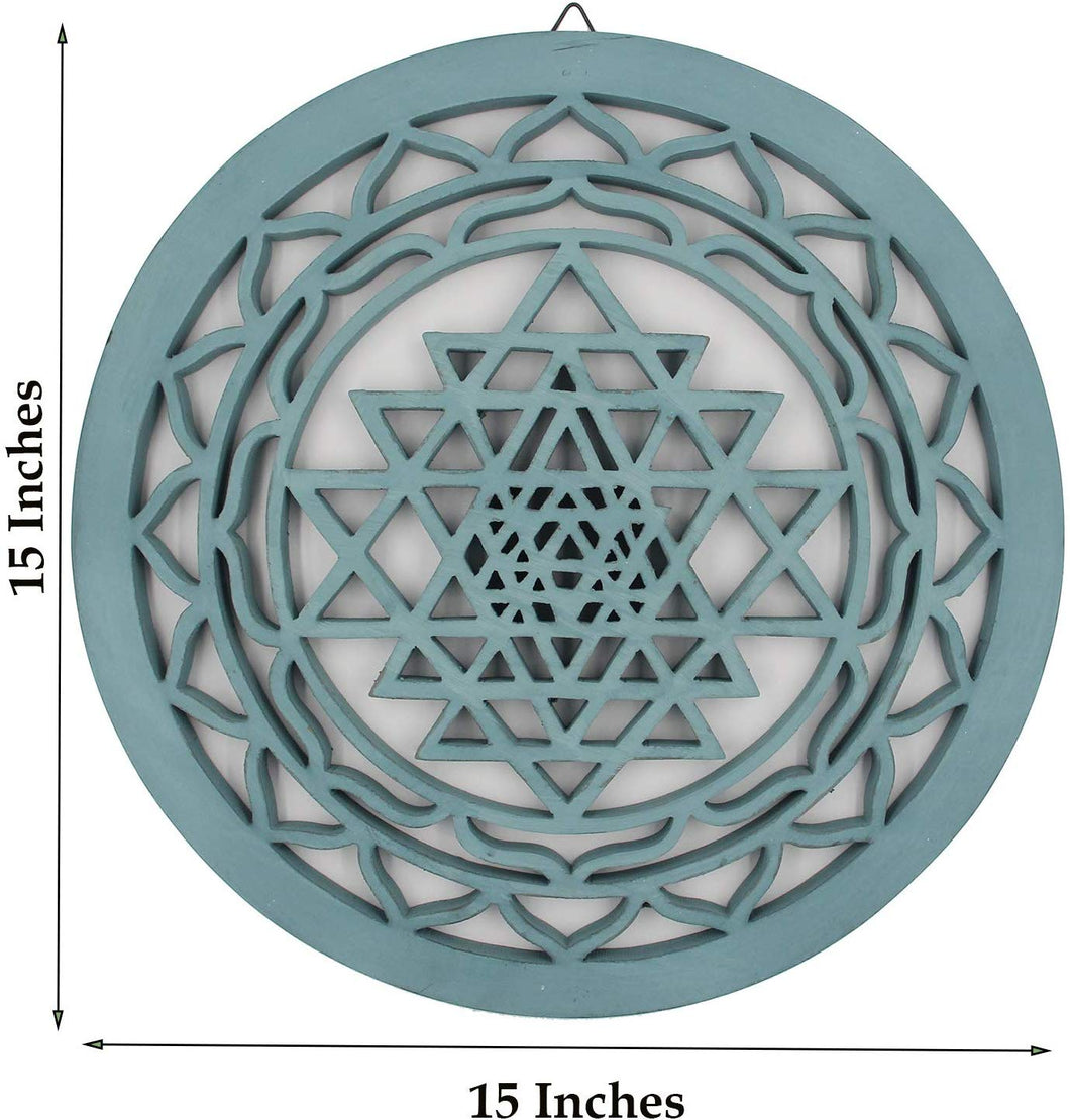 Large Shri Yantra Hindu Sacred Handcrafted Wooden Wall Decor (Turquoise, 15.75 Inches) - DharmaObjects