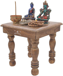Solid Mango Wood Hand Carved Puja Shrine Altar Meditation Table (Triquetra) - DharmaObjects