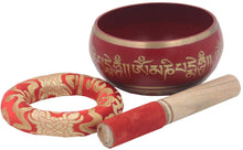 Load image into Gallery viewer, Tibetan Meditation Om Mani Padme Hum Peace Singing Bowl Complete Set (X-Large, Red) - DharmaObjects