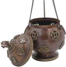 Load image into Gallery viewer, Tibetan Traditional Hanging Incense Burner Copper (8.5 x 6 x 6 Inches, Hanging 5) - DharmaObjects