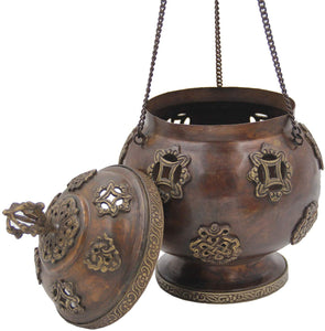 Tibetan Traditional Hanging Incense Burner Copper (8.5 x 6 x 6 Inches, Hanging 5) - DharmaObjects