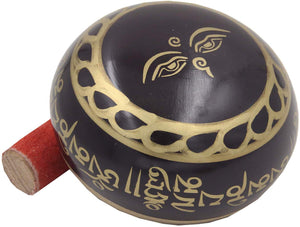 Medium Tibetan Meditation Om Mani Padme Hum Peace Singing Bowl With Mallet - DharmaObjects