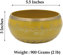 Load image into Gallery viewer, Tibetan Meditation Om Mani Padme Hum Peace Singing Bowl With Mallet (X-Large, Yellow) - DharmaObjects