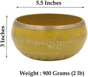 Tibetan Meditation Om Mani Padme Hum Peace Singing Bowl With Mallet (X-Large, Yellow) - DharmaObjects