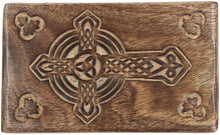 Load image into Gallery viewer, Hand Carved Jewelry Trinket Keepsake Wooden Storage Box (Large, Celtic Cross) - DharmaObjects