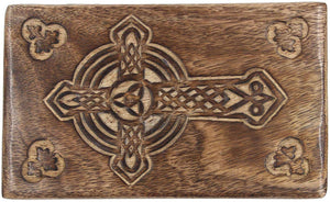Hand Carved Jewelry Trinket Keepsake Wooden Storage Box (Large, Celtic Cross) - DharmaObjects
