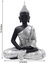 Load image into Gallery viewer, Meditating Buddha Statue Zen Mindfulness Peace Harmony (Silver, 11 Inches) - DharmaObjects