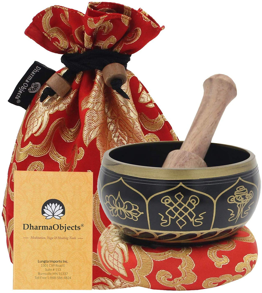 Tibetan OM MANI Singing Bowl Set ~ With Mallet, Brocade Cushion & Carry Bag ~ For Meditation, Chakra Healing, Prayer, Yoga (Eight Lucky Symbol, Black) - DharmaObjects