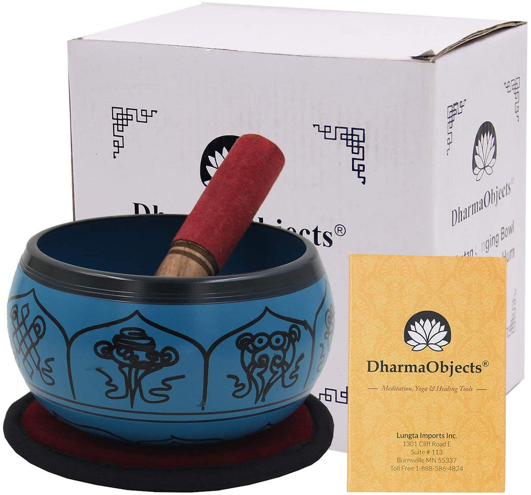 Yoga Meditation 6 Inches 8 Lucky Symbols Singing Bowl/Cushion/Leather Mallet Gift Set (Turquoise) - DharmaObjects