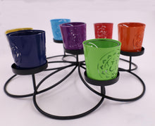 Load image into Gallery viewer, Large Round  Set of 7 Chakra Symbols Votive Tea Light Candle Holder