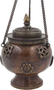 Tibetan Traditional Hanging Incense Burner Copper (6 x 4.5 x 4.5 Inches, Hanging 8) - DharmaObjects