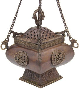 Tibetan Traditional Hanging Incense Burner Copper (6.5 x 4 x 4 Inches, Hanging 6) - DharmaObjects