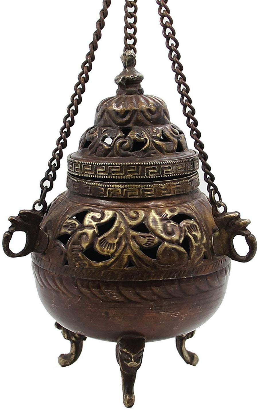 Tibetan Traditional Hanging Incense Burner Copper 6 5 High Dharmaobjects