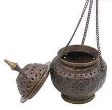 "Load image into Gallery viewer, Tibetan Hanging Incense Burner ~ Copper w/Tibetan Symbols ~ 5"" High - DharmaObjects"
