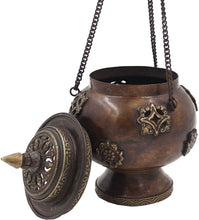 Load image into Gallery viewer, Tibetan Traditional Hanging Incense Burner Copper (6 x 4.5 x 4.5 Inches, Hanging 8) - DharmaObjects