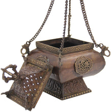 Load image into Gallery viewer, Tibetan Traditional Hanging Incense Burner Copper (6.5 x 4 x 4 Inches, Hanging 6) - DharmaObjects