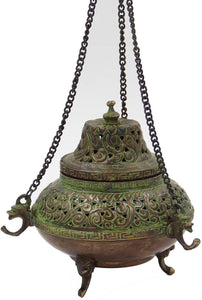 Tibetan Traditional Hanging Incense Burner Copper (5.5 x 4.5 x 4.5 Inches, Hanging 7) - DharmaObjects