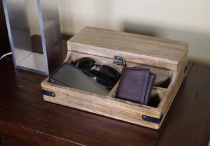 Rustic Wooden 7 Slots Bedside Phone, Watch & Valet Organizer Keepsake Treasure Box