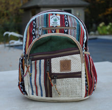 Load image into Gallery viewer, Handmade Natural Hemp Nepal Backpack Purse for Women & Girls Small Lightweight Daypack