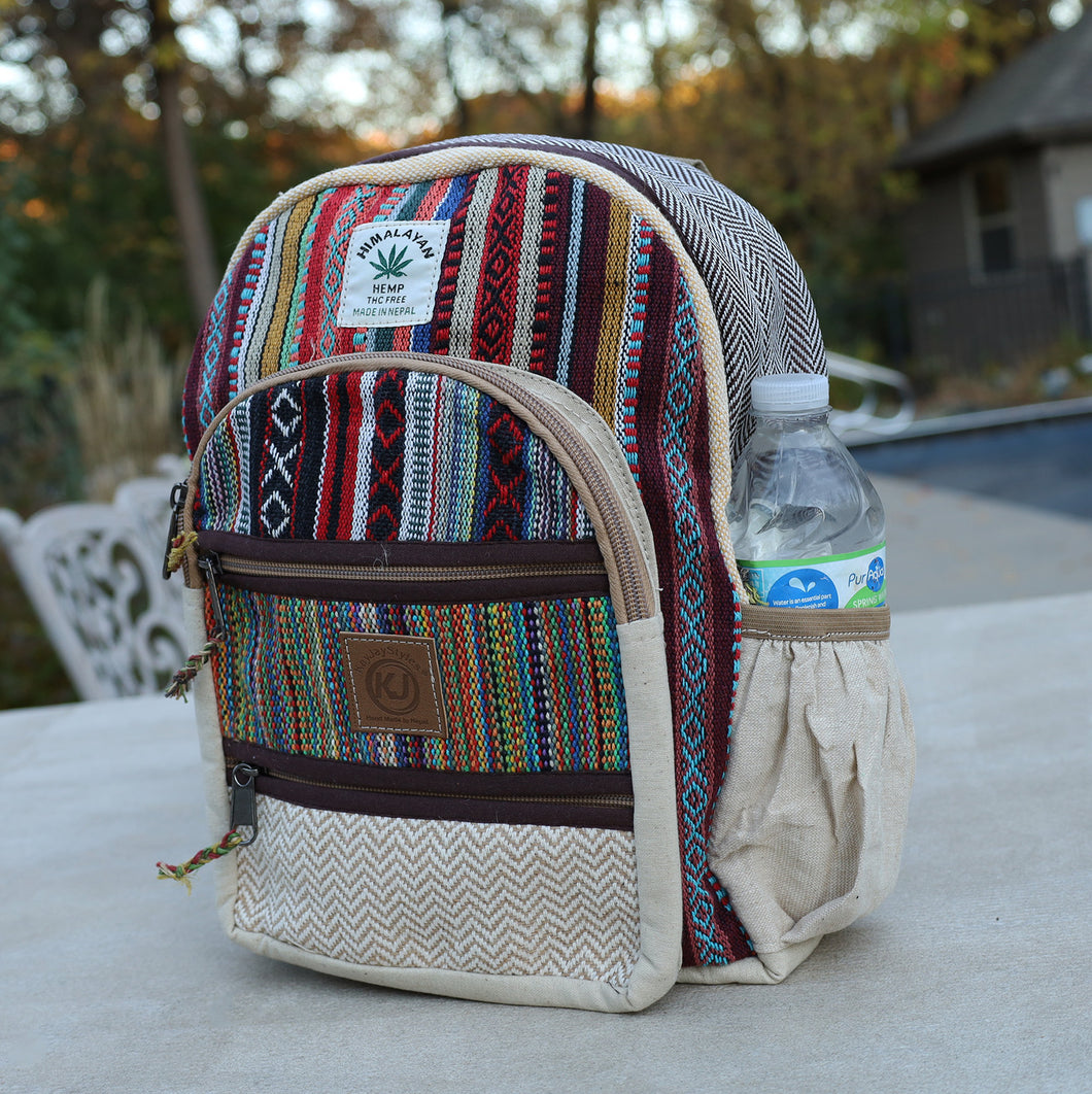 Handmade Natural Hemp Nepal Backpack Purse for Women & Girls Small Lightweight Daypack
