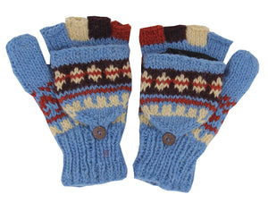 Hand Knit 100% Wool Convertible Finger less Mittens Glove Nepal - DharmaObjects
