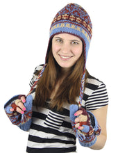 Load image into Gallery viewer, Nepal Hand Knit Ear Flaps Beanie Ski Wool Hat & Glove Mitten Set - DharmaObjects