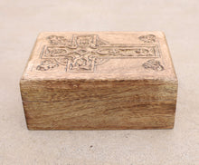 Load image into Gallery viewer, Hand Carved Celtic Cross Wooden Box Keepsake Jewelry Storage