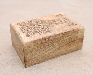 Hand Carved Celtic Cross Wooden Box Keepsake Jewelry Storage