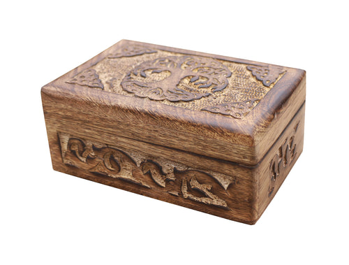 Celtic Tree Of Life Hand Carved Jewelry Storage Keepsake Wooden Box