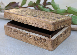 Hand Carved Jewelry Trinket Keepsake Wooden Storage Box (Large, Flower of Life)
