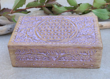 Load image into Gallery viewer, Hand Carved Jewelry Trinket Keepsake Wooden Storage Box (Large, Flower of Life)