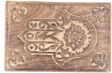 Load image into Gallery viewer, Hamsa Hand of Fatima Hand Carved Jewelry Trinket Keepsake Wooden Storage Box