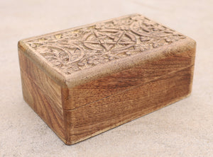 Hand Carved Jewelry Trinket Keepsake Wooden Storage Box Triple Moon