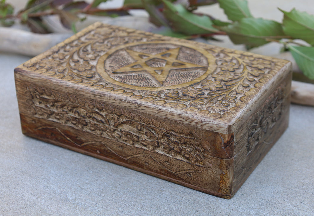 Hand Carved Pentagram Star Wooden Box Keepsake Jewelry Storage