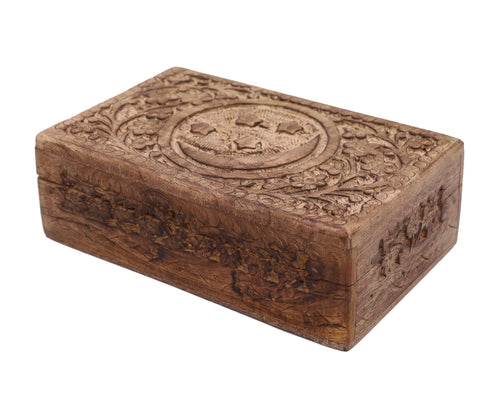 Celestial Moon and Stars Hand Carved Wooden Storage Keepsake Box