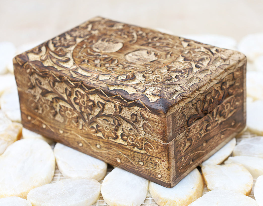 Tree Of Life Hand Carved Jewelry Storage Keepsake Wooden Box