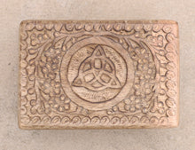 Load image into Gallery viewer, Hand Carved Triquetra Wooden Jewelry, Keepsake, Storage Box