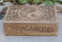 Load image into Gallery viewer, Hand Carved Yin Yang Wooden Box Keepsake Jewelry Storage