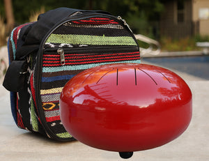 Steel Tongue Drum 11 Notes 10 Inches Tank Drum, Handpan Drum, Chakra Drum, Percussion with Padded Travel Bag and Mallets (Red)