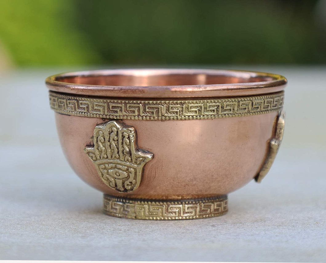 DharrmaObjects Copper Offering Bowl Incense Burner Holder (3 Inches, Fatima Hand)