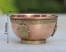 Load image into Gallery viewer, DharrmaObjects Copper Offering Bowl Incense Burner Holder (3 Inches, Fatima Hand)