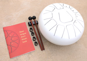 Steel Tongue Drum 11 Notes 10 Inches Tank Drum, Handpan Drum, Chakra Drum, Percussion with Padded Travel Bag, Mallets, Book and More