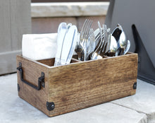 Load image into Gallery viewer, Mango Wood Utensils Caddy, Holder for Spoons, Forks, Knives, Salt Pepper, Napkins, Silverware Organizer, Flatware Holder