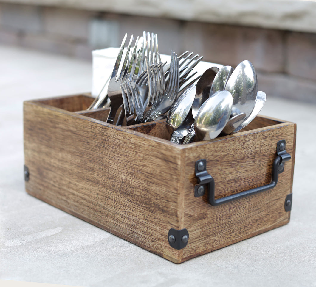 Mango Wood Utensils Caddy, Holder for Spoons, Forks, Knives, Salt Pepper, Napkins, Silverware Organizer, Flatware Holder