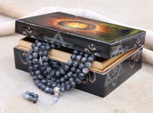 Load image into Gallery viewer, Tibetan Prayer Meditation 108 Beads Labradorite Mala with Silver Guru Bead Spacers And Mala Wooden Box