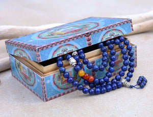 Tibetan Prayer Meditation Healing Chakra Lapis Lazuli 108 Beads Mala With Silver Guru Bead , Silver Spacers And Mala Wooden Box