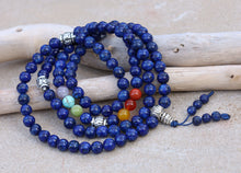 Load image into Gallery viewer, Tibetan Prayer Meditation Healing Chakra Lapis Lazuli 108 Beads Mala With Silver Guru Bead , Silver Spacers And Mala Wooden Box