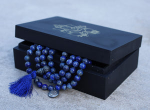 Om Healing Stone 108 Beads Mala Prayer Meditation Yoga Chakra With Silver Guru Bead And Silver Spacers - Free Wooden Gift Box